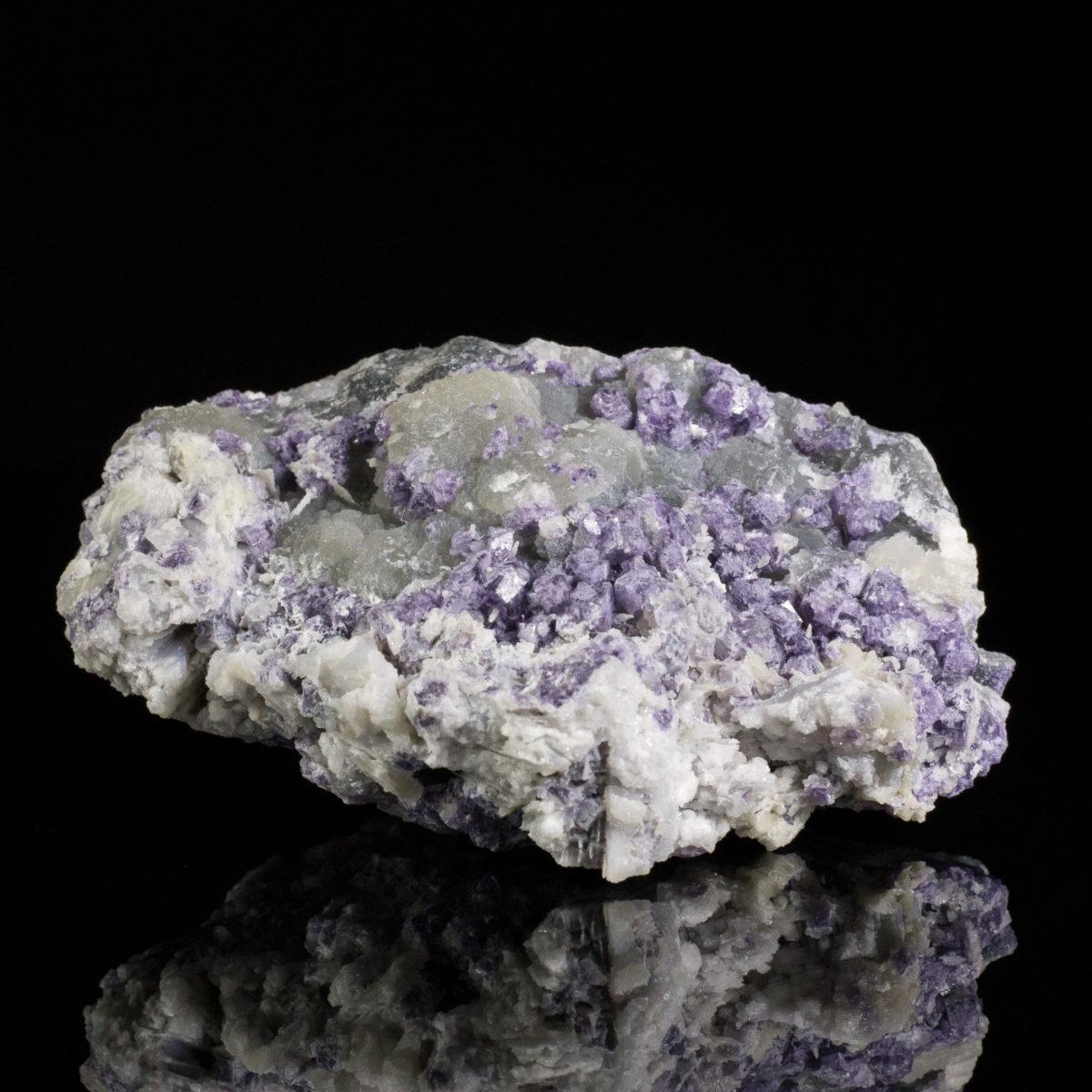 Purple Fluorite on Barite after Laumontite